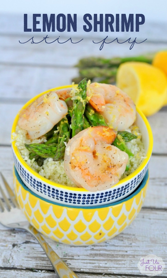 Stir fry makes a perfect weeknight meal. This lemon shrimp stir fry cooks in under 30 minutes and has a Paleo option too. Your whole family will love it.