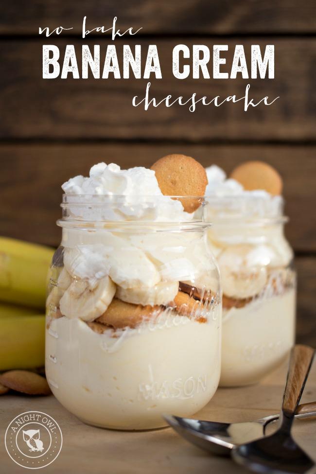 No Bake Banana Cream Cheesecake | anightowlblog.com