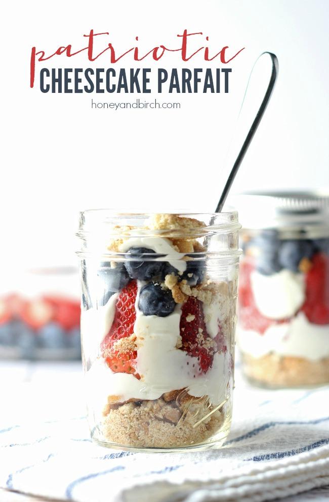 Patriotic No-Bake Cheesecake Parfaits | anightowlblog.com