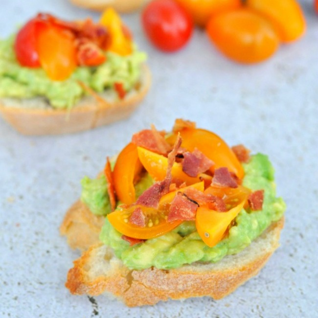 Bacon Avocado Tomato Crostini | A Night Owl Blog