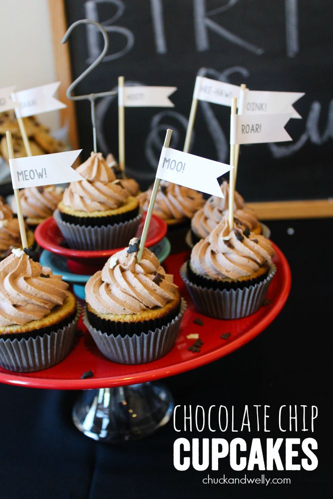Chocolate Chip Cupcakes - fluffy chocolate chip cupcakes with milk chocolate frosting!