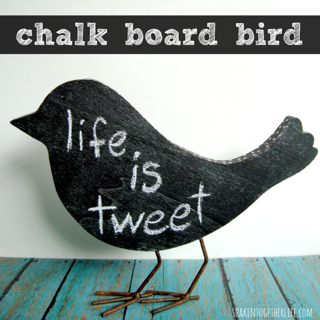 Chalkboard & Washi Tape Bird from Shaken Together