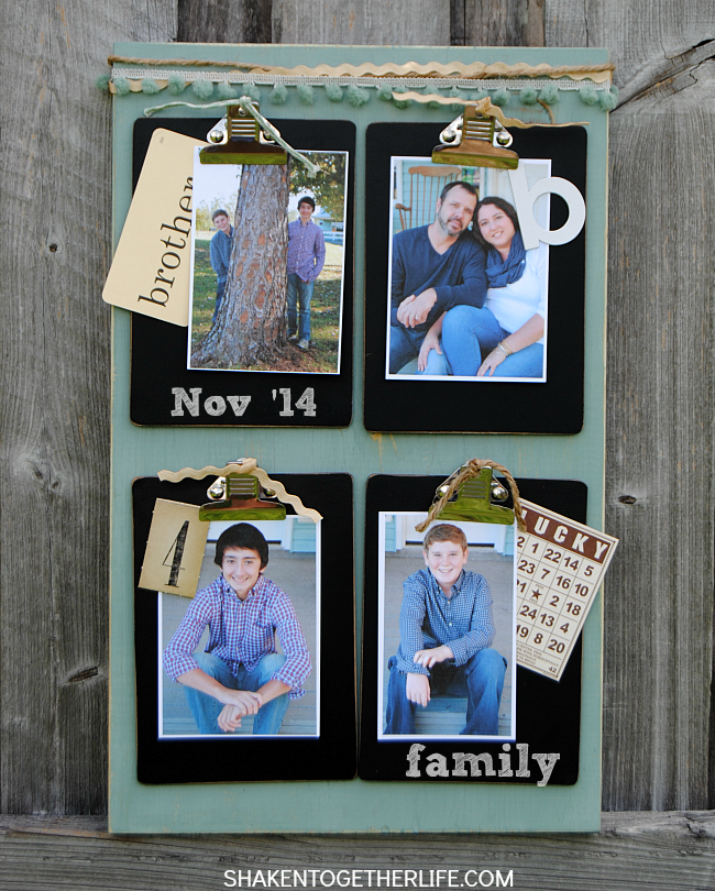 This rustic clipboard photo display is made with a scrap piece of wood and 4 mini clipboards - it is easy to make and a great way to display family photos, memorabilia and more!