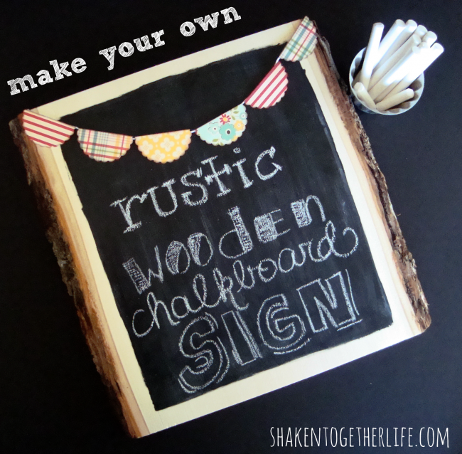 Rustic Wooden Chalkboard Sign from Shaken Together