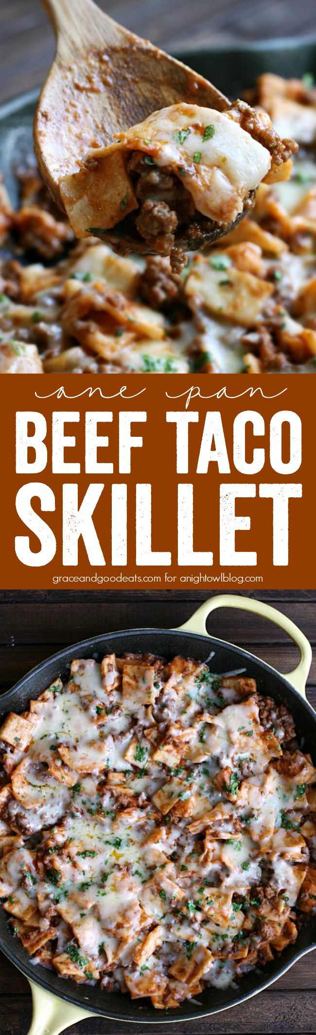 This One Pan Beef Taco Skillet is a super quick, delicious, one-pot meal that's perfect for a busy weeknight!