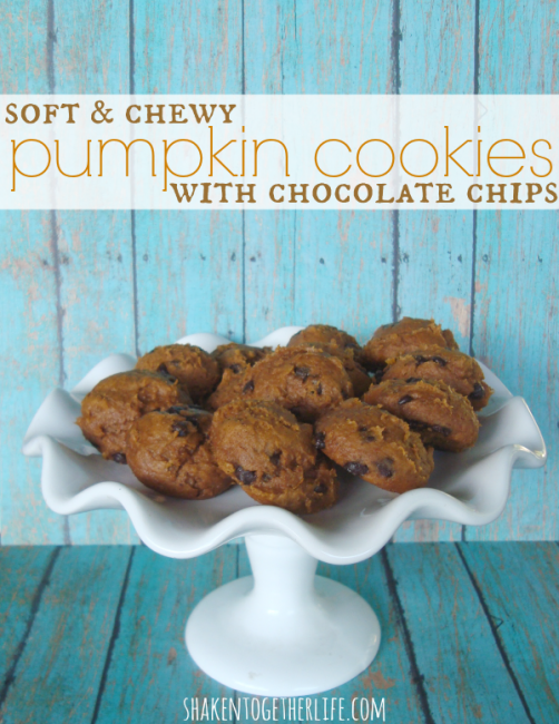 Soft and chewy pumpkin cookies with chocolate chips from Shaken Together!