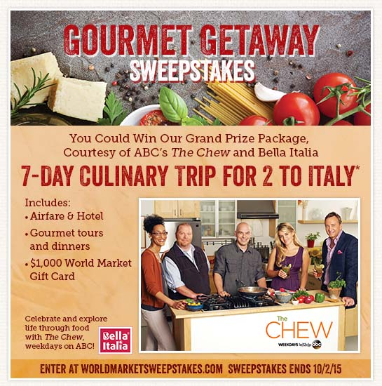 Gourmet Getaway Sweepstakes with World Market