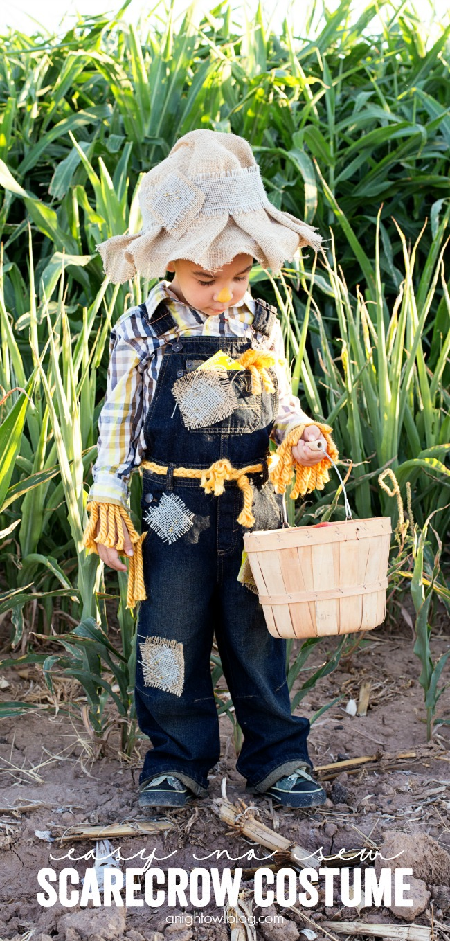 This Easy No Sew Scarecrow Costume is a breeze to make and is just oh so cute!