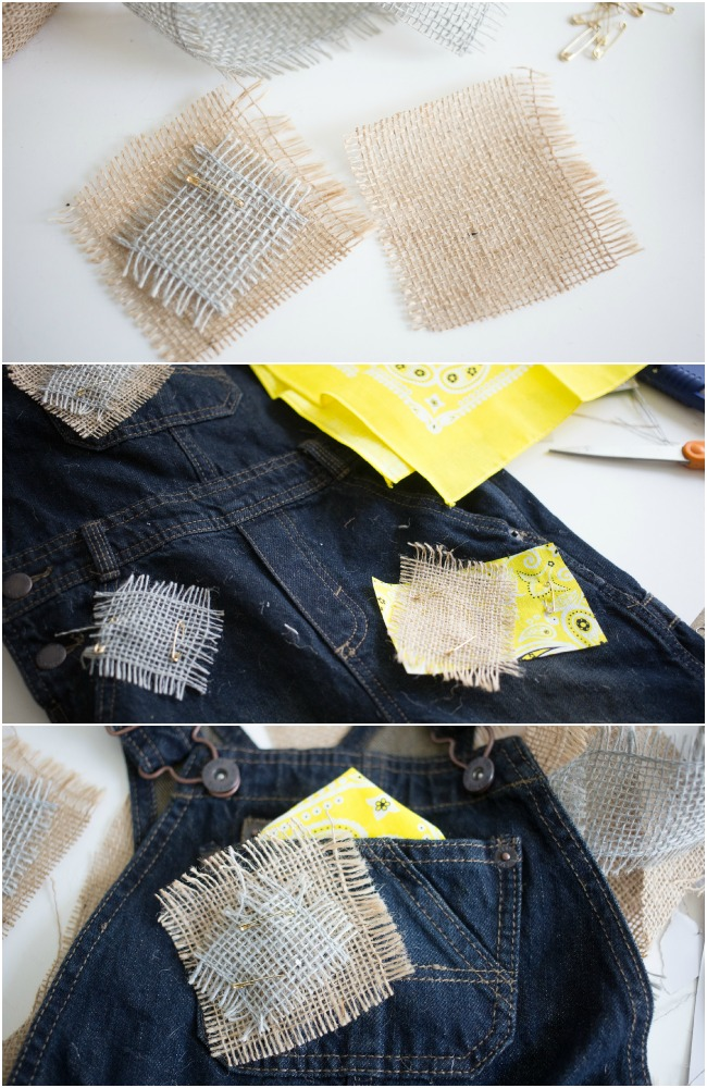 How to make faux patches for an Easy No Sew Scarecrow Costume!