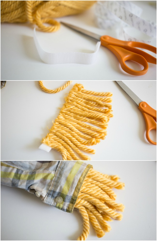 """How to make """"straw cuffs"""" for an Easy No Sew Scarecrow Costume!"""
