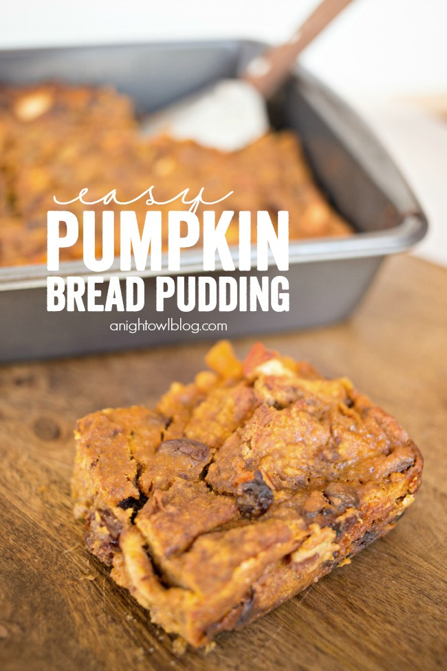 This Easy Pumpkin Bread Pudding is the perfect make-ahead fall breakfast!
