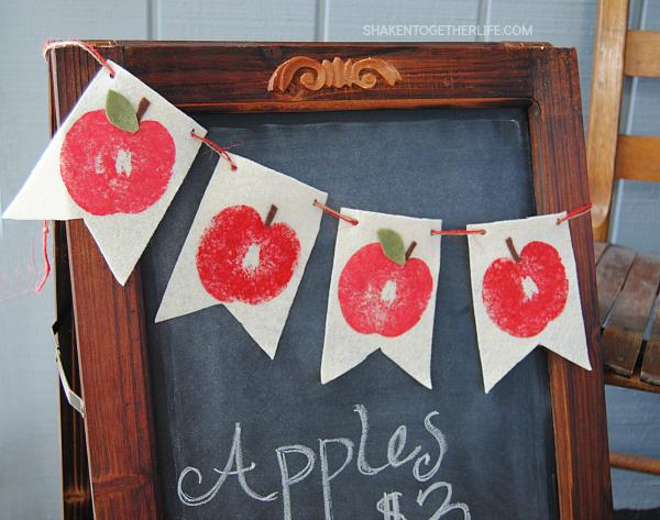 Stamped Felt Apple banner from Shaken Together