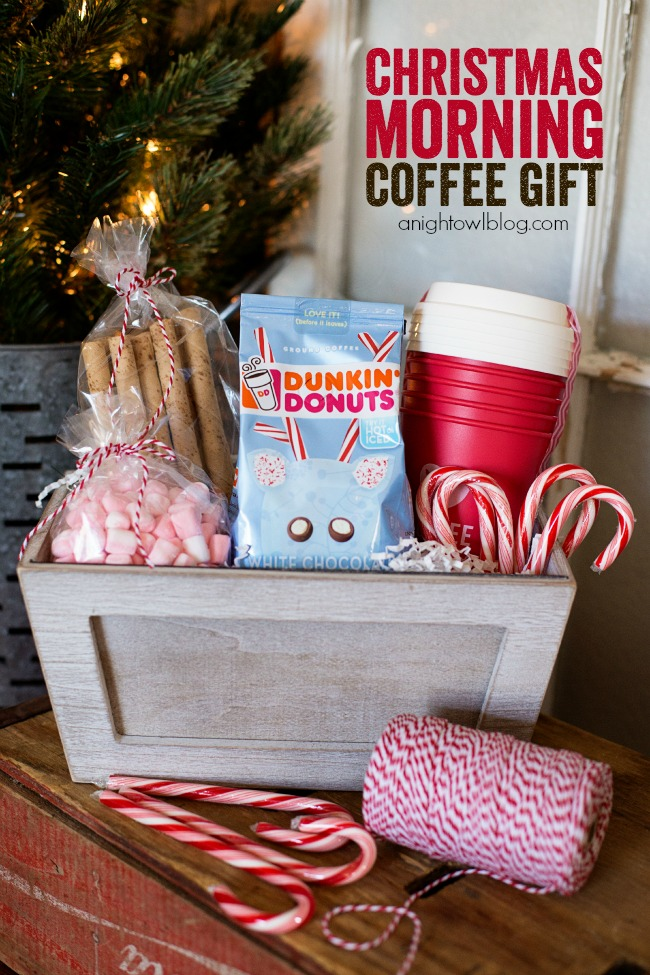 give the gift of coffee with this adorable christmas morning coffee gift basket