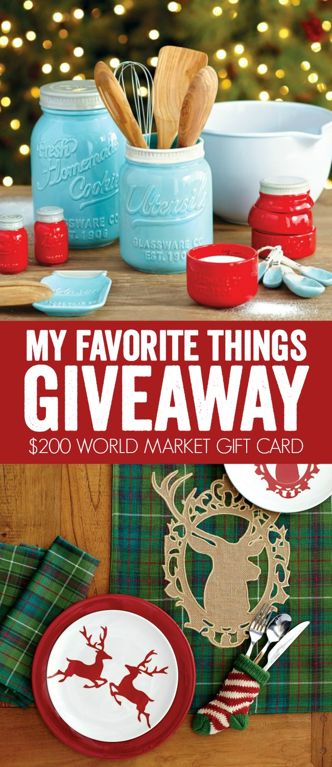 My Favorite Things Giveaway - WIN a $200 World Market Gift Card at A Night Owl Blog!