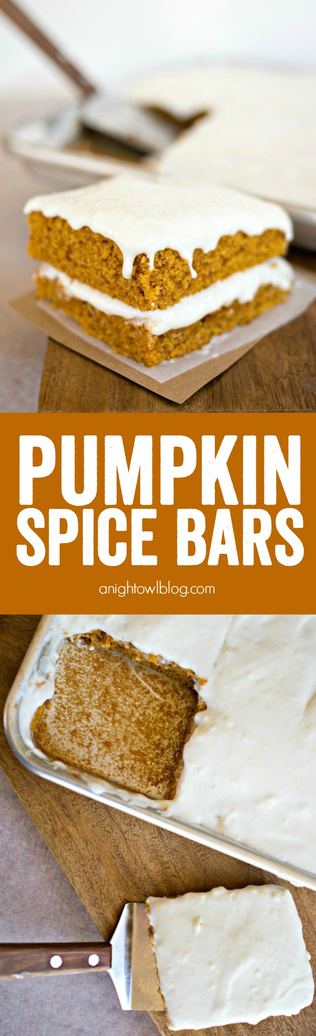 These Pumpkin Spice Bars with cream cheese frosting are moist, delicious and packed full of flavor!
