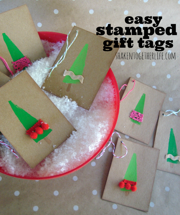Easy stamped gift tags from Shaken Together