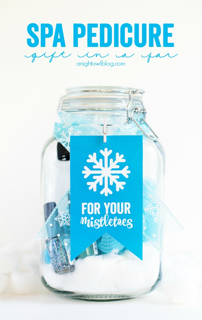 "This holiday season give your girlfriends a Spa Pedicure Gift in a Jar! Download and print these cute ""For Your Mistletoes"" tags today!"