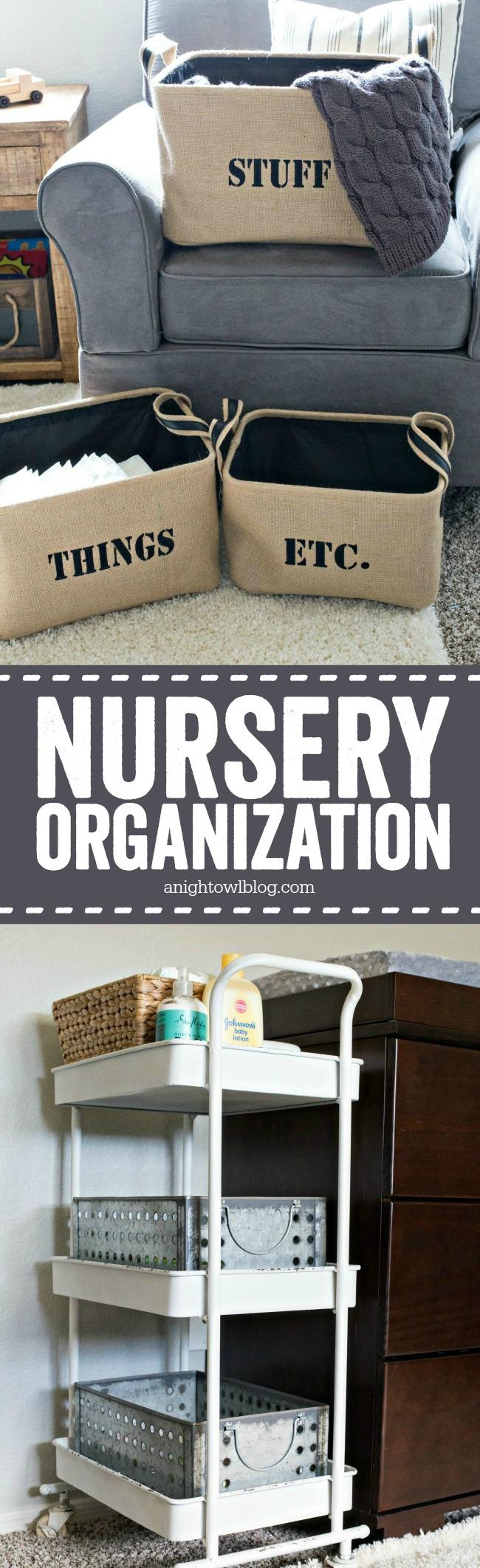 So many easy nursery organization ideas - perfect for an urban industrial themed nursery!