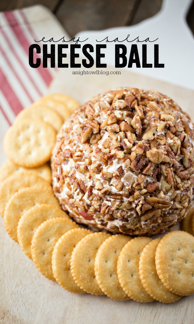 This Easy Salsa Cheese Ball is so easy and delicious! The perfect appetizer for parties or a game day snack!