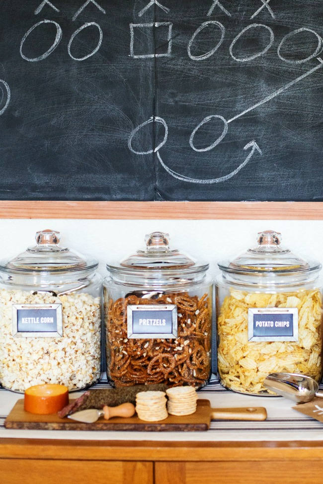 With this Self-Serve Game Day Snack Bar, your guests can fill up baggies with their favorite snacks!