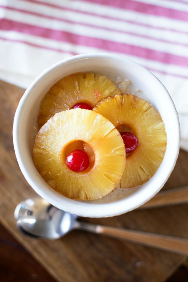 Eat cake for breakfast! This Pineapple Upside Down Oatmeal is a delicious way to add some fun to your morning routine!