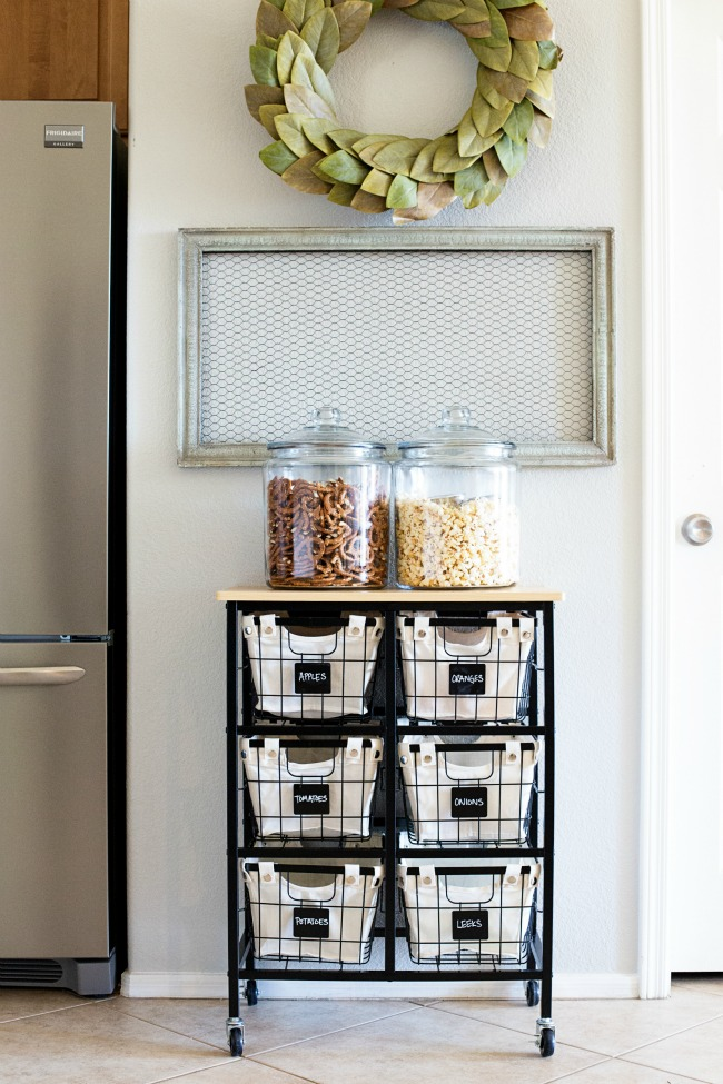 This simple cart and basket system is the perfect Produce Kitchen Organization and Storage solution!