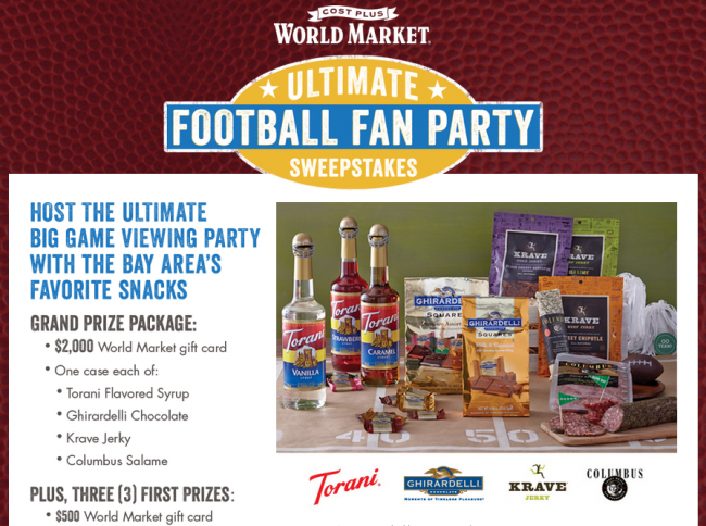 World Market Ultimate Football Fan Party Sweepstakes