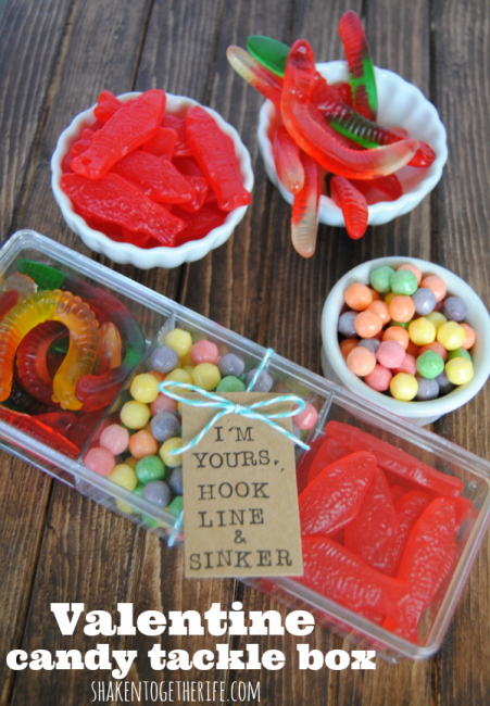 Valentine Candy Tackle Box from Shaken Together