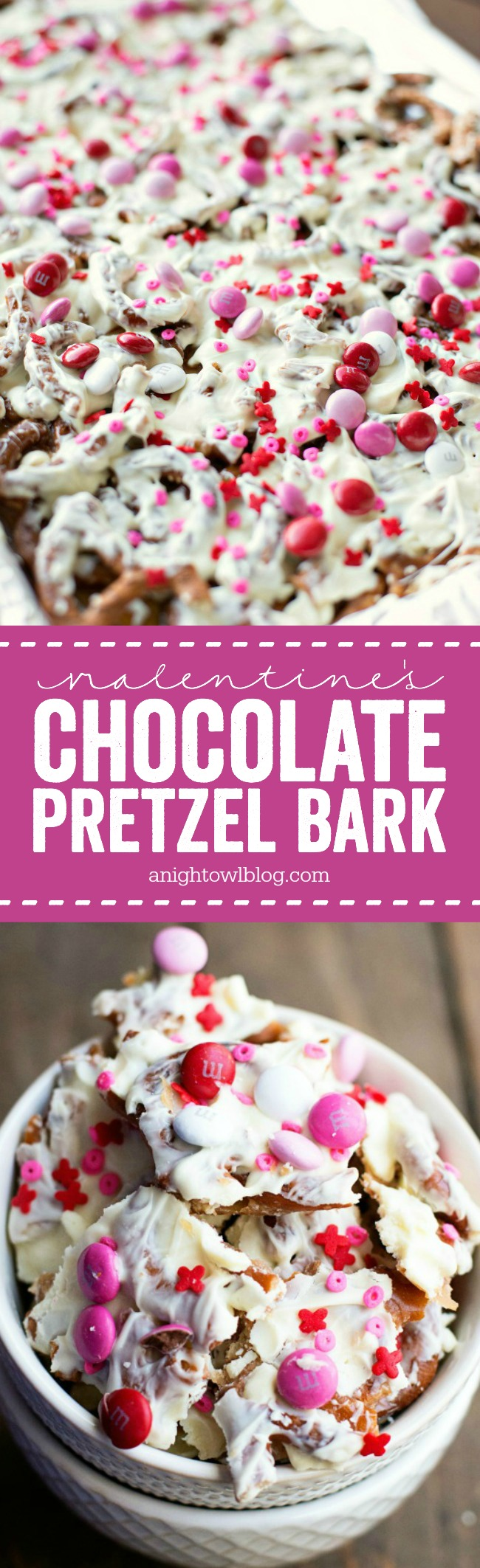 This Valentine's Chocolate Pretzel Bark is the perfect combination of salty and sweet in one delicious treat!