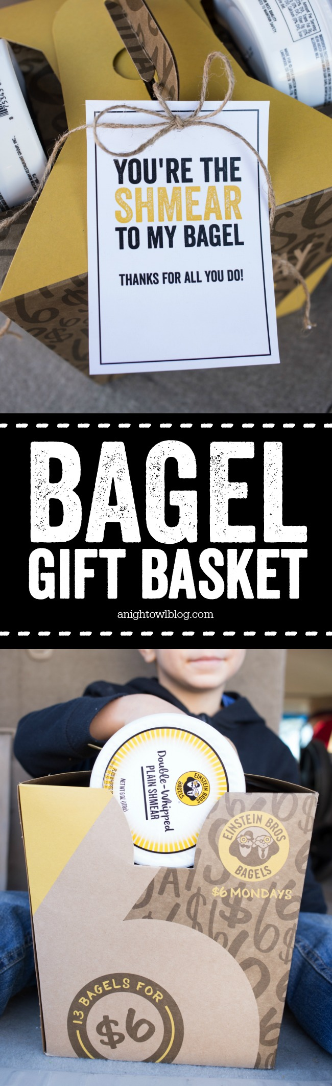 Breakfast Bagel Gift Basket - such a great gift idea for teachers, neighbors and more! With FREE cute printable tags.