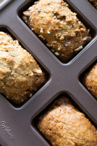 These Banana Bread Mini Loaves can be made with just one bowl and one pan! So easy and delicious!