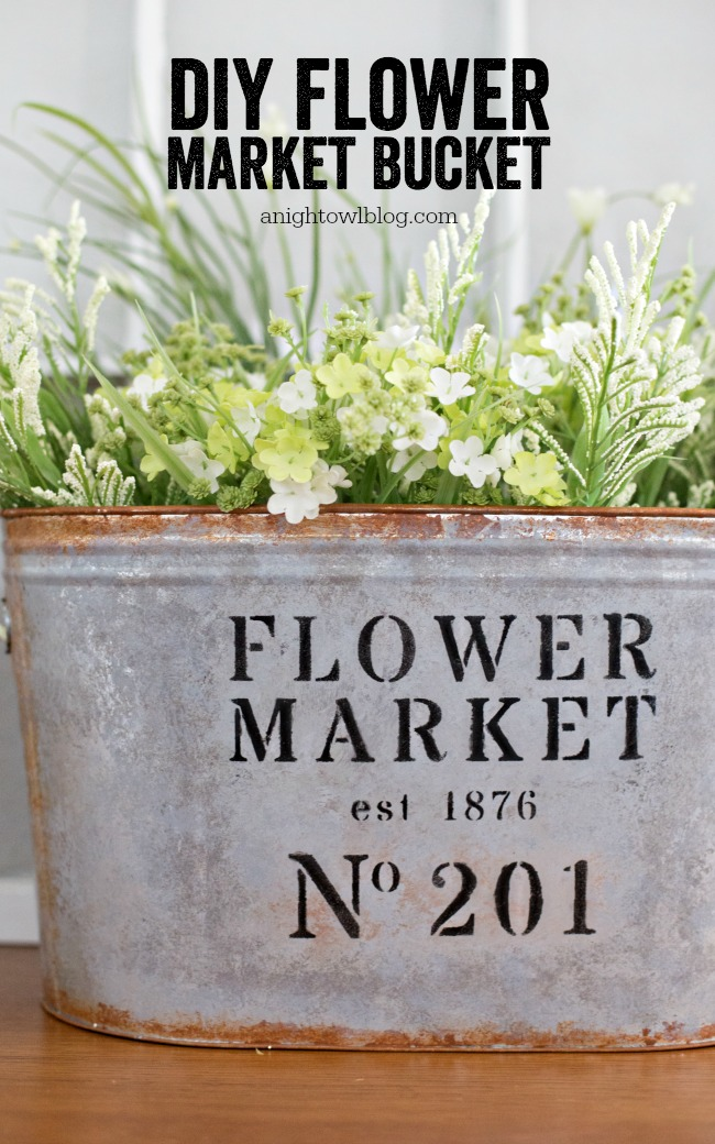 Diy Metal Flower Market Bucket A Night Owl Blog