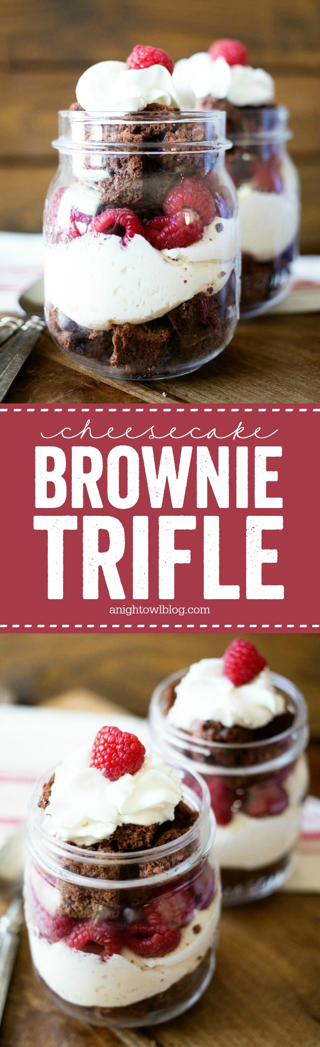 This Easy Cheesecake Brownie Trifle is a fun and delicious dessert for Valentines or any special occasion!