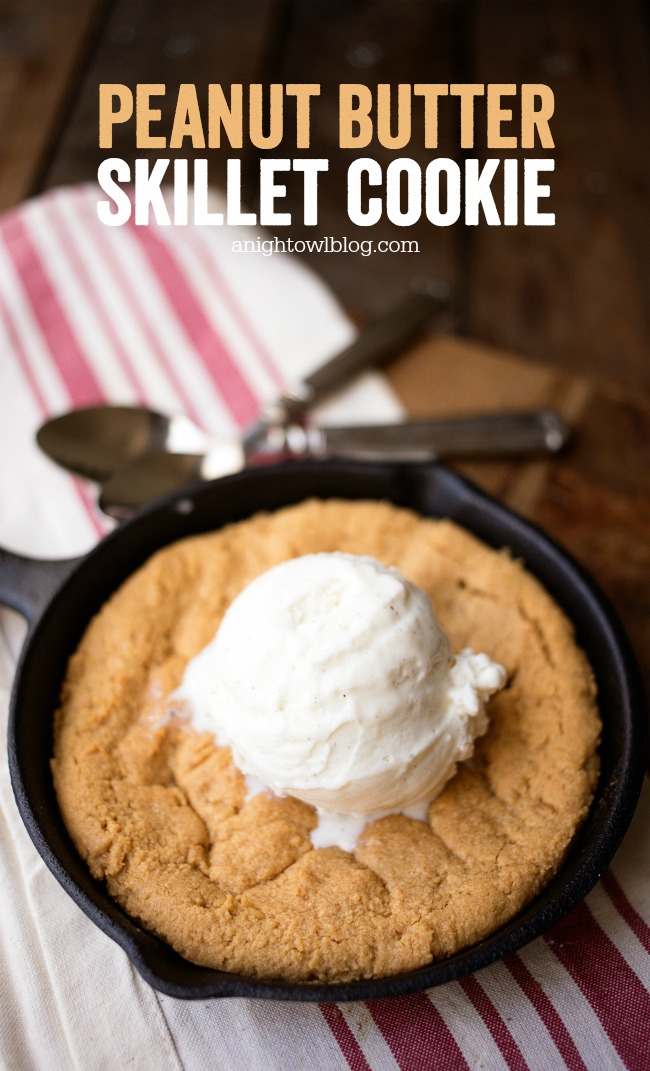 This Peanut Butter Skillet Cookie is easy to whip up and absolutely delicious served warm and topped with vanilla ice cream!