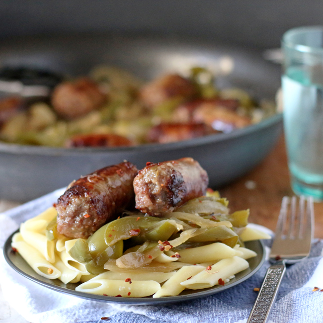 Beer Braised Sausages are an easy, hearty meal that is flavorful - just the right amount of spicy and sweet!