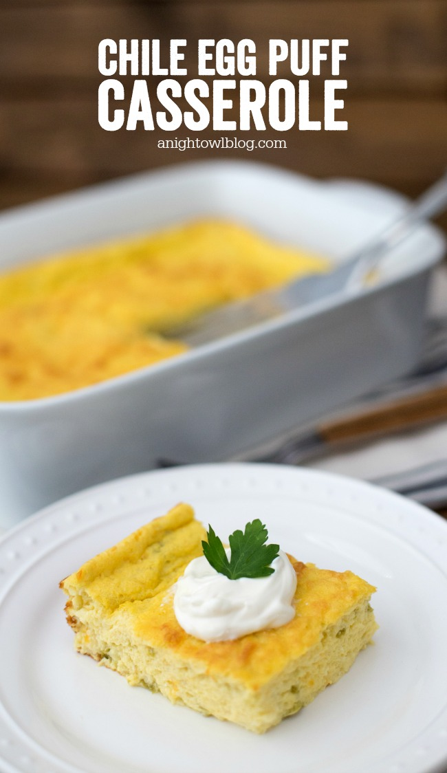 This Chile Egg Puff Casserole is easy, delicious and perfect for brunch!