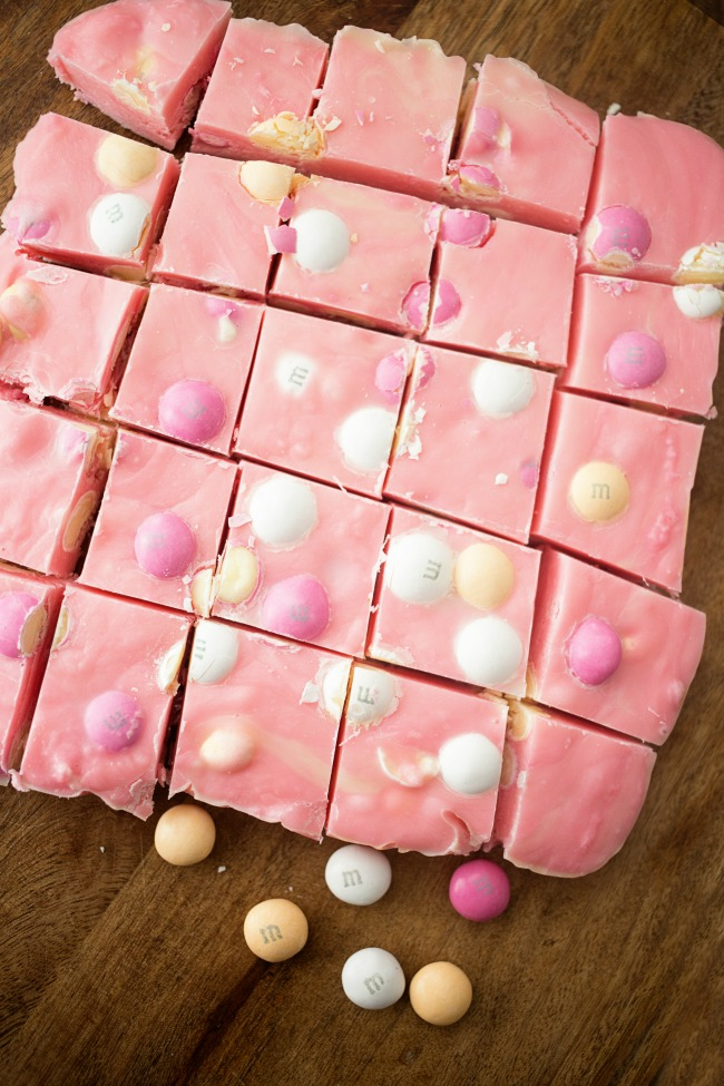 This Strawberry Shortcake Fudge is a quick and easy spring treat featuring delicious M&M's White Strawberry Shortcake!