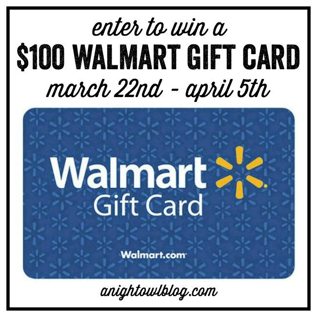 Enter to WIN a $100 Walmart Gift Card from anightowlblog.com!