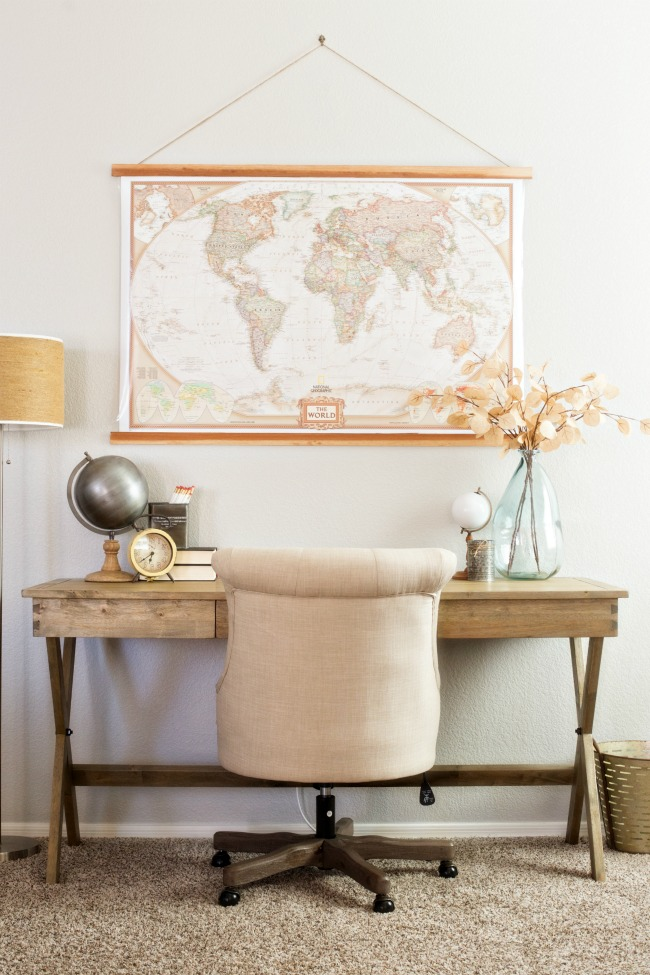 Create a warm and neutral home office space with affordable finds from Cost Plus World Market.