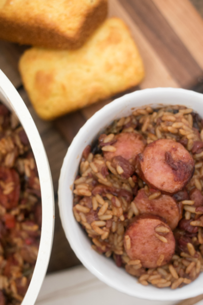 This Easy One Pot Red Beans and Rice Dinner is a family favorite that I can make in just 30 minutes!