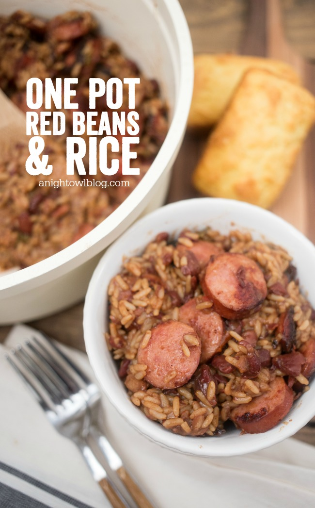 This Easy One Pot Red Beans and Rice Dinner is a family favorite that you can make in just 30 minutes!