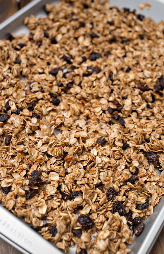 This Homemade Cinnamon Raisin Granola is so easy to make and a perfect wholesome snack!