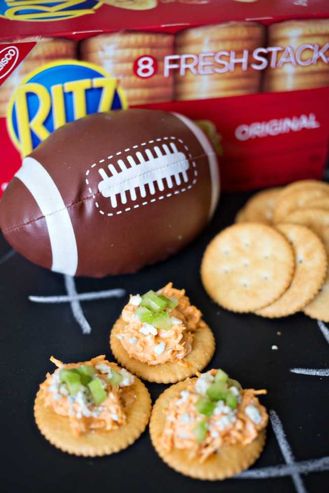These RITZ Buffalo Chicken Bites are delicious and easy to whip up! Perfect for game day!