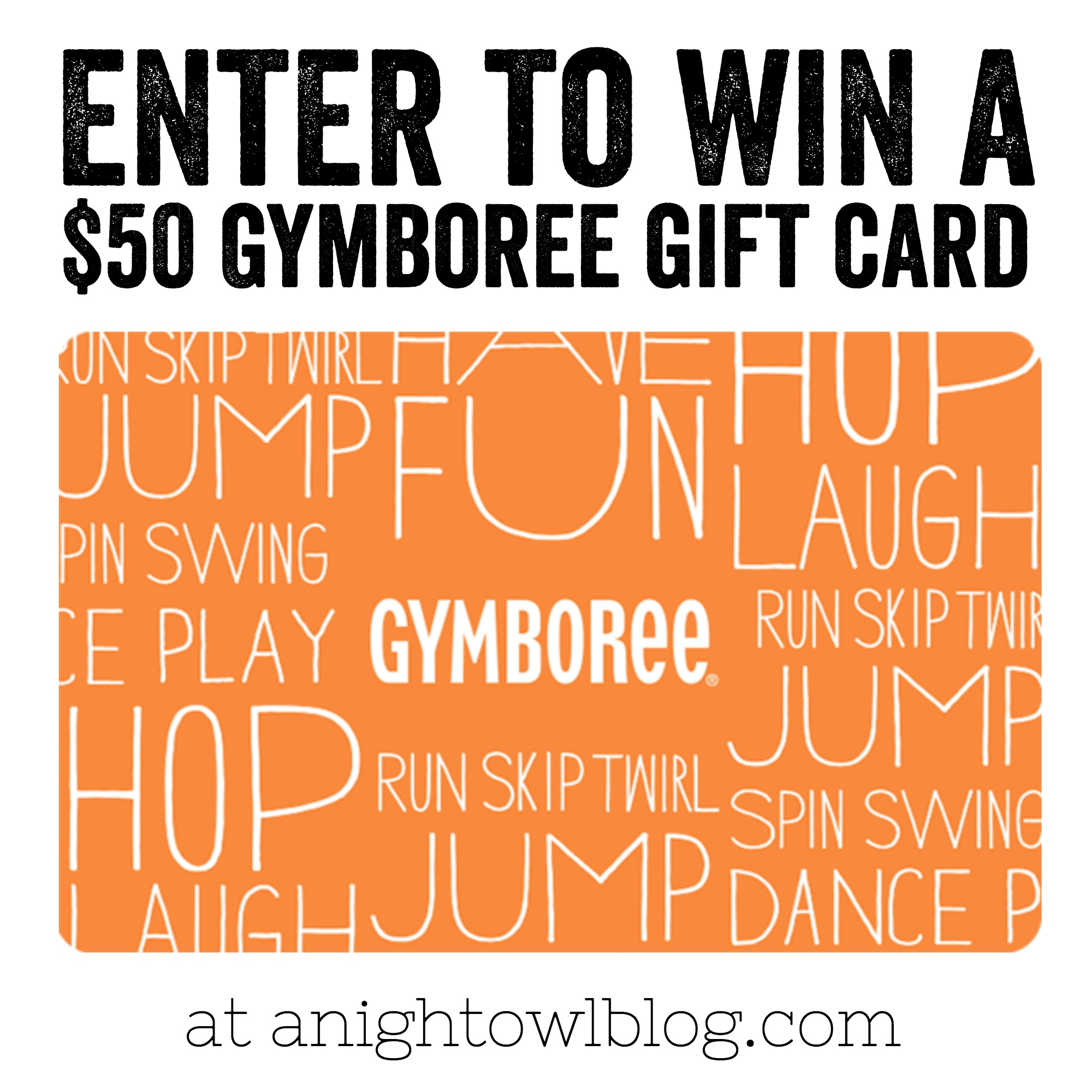 Enter to WIN a Gymboree Gift Card at anightowlblog.com. Ends 8/12/16.