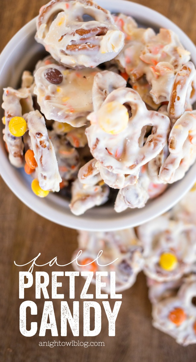 This Fall Pretzel Candy is the perfect EASY treat for your Halloween and fall holiday parties and more!
