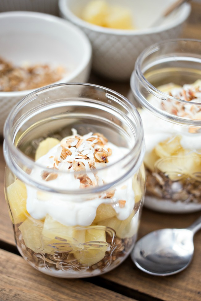 These Piña Colada Parfaits are the perfect combination of delicious coconut yogurt, toasted coconut granola and new DOLE Jarred Pineapple Chunks!