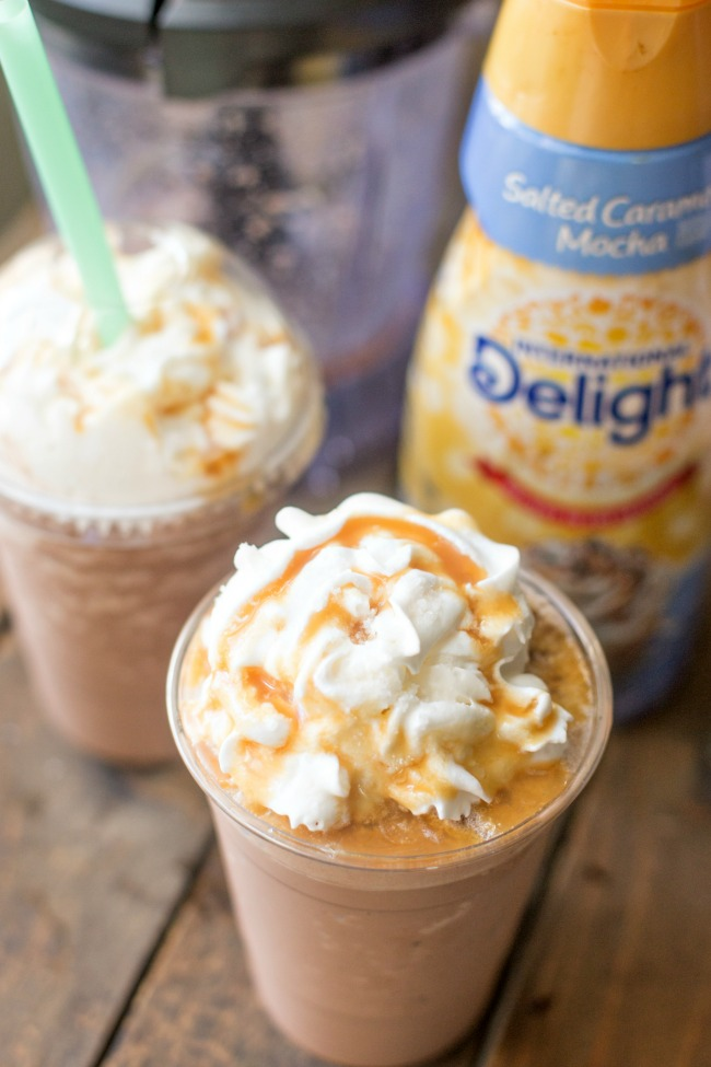 This homemade Salted Caramel Mocha Frappuccino tastes like the REAL THING and is a fraction of
