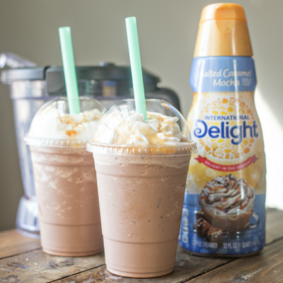 This homemade Salted Caramel Mocha Frappuccino tastes like the REAL THING and is a fraction of the cost. Make your favorite coffeehouse drinks at home!