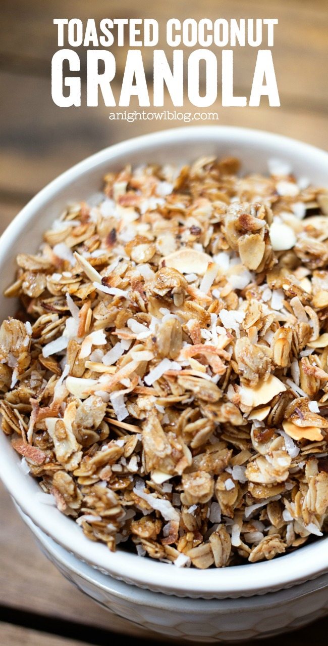 This Toasted Coconut Granola is easy to make and is perfect to add to ...