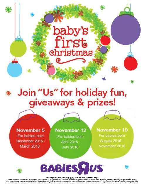 "Babies ""R"" Us invites parents of similar age babies to come together and celebrate their baby's 1st Christmas with ""Us""."